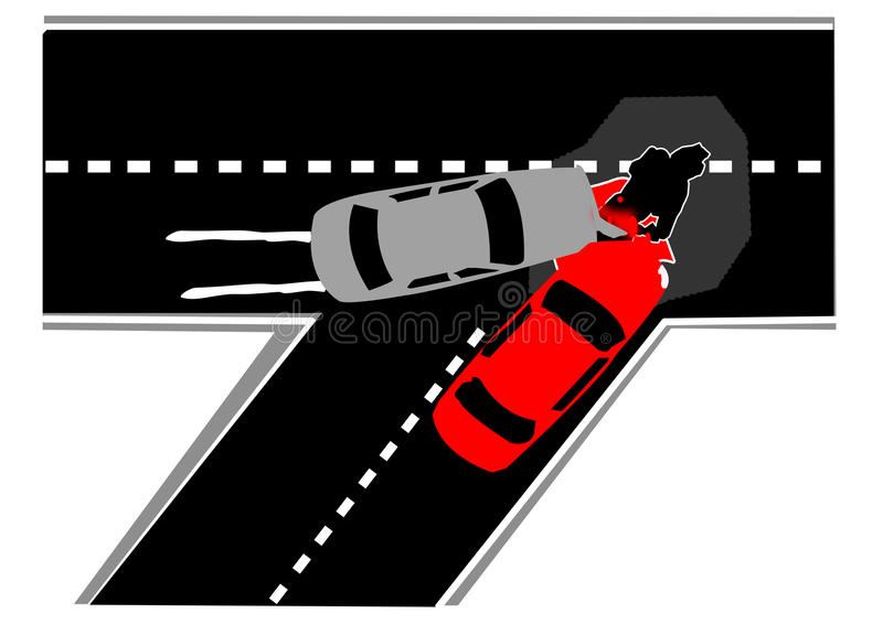 l'illustration de véhicule des accidents 3d a isolé le blanc rendu illustration libre de droits
