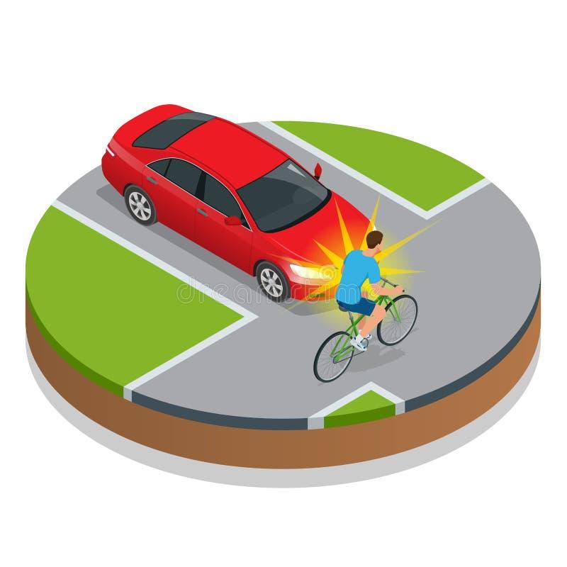 l'illustration de véhicule des accidents 3d a isolé le blanc rendu Accident de vélo avec un véhicule illustration de vecteur