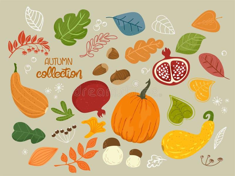 L'illustration de vecteur avec des objets d'automne des fruits, baies, légumes, champignons, noisettes moissonnent, des feuilles, illustration stock