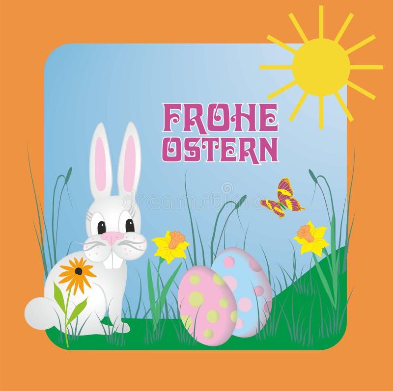 L'illustration de vecteur avec le texte allemand Frohe Ostern, signifie Joyeuses Pâques illustration libre de droits