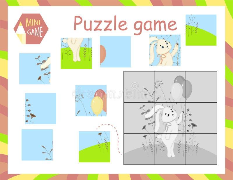 L'illustration de vecteur de bande dessinée du jeu de casse-tête d'éducation pour les enfants préscolaires avec entendent illustration libre de droits