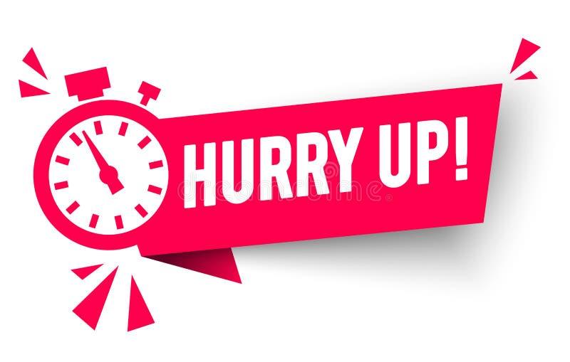 L'illustration de vecteur dépêchent le label avec le symbole de Countdwon d'alarme d'horloge, offres d'icône de promotion illustration de vecteur