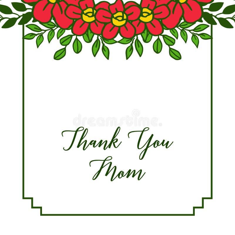 L'illustration de vecteur d?corative de la carte vous remercient maman avec de beaux cadres oranges de fleur illustration stock