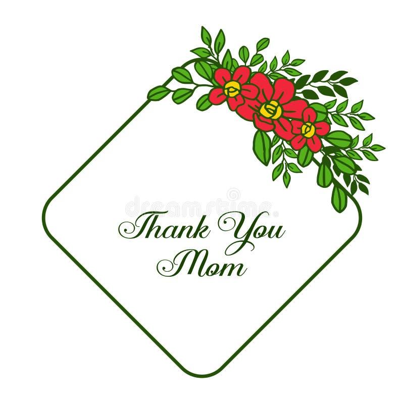 L'illustration de vecteur d?corative de la carte vous remercient maman avec de beaux cadres oranges de fleur illustration de vecteur