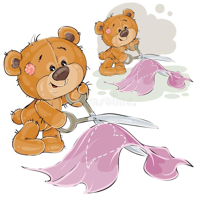 L'illustration de vecteur d'un tailleur brun d'ours de nounours coupe un modèle de ciseaux d'un coeur, couture illustration de vecteur