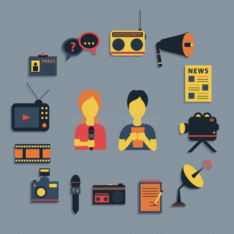 L'illustration de vecteur des actualités de radiodiffusion de journalisme de médias a moulé les icônes plates d'affaires de conce illustration de vecteur