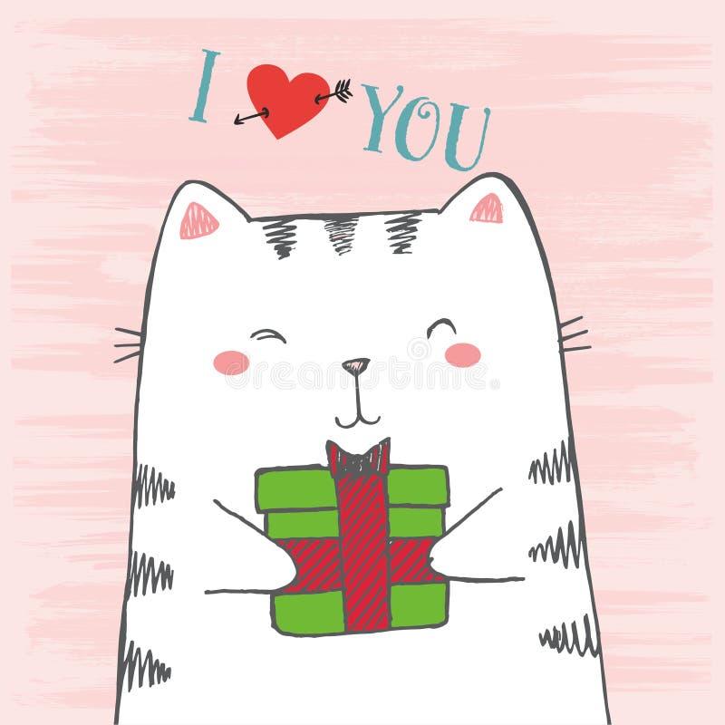 L'illustration de vecteur du chat blanc de bande dessinée tirée par la main de croquis étreint le cadeau sur le fond rose grunge  illustration de vecteur