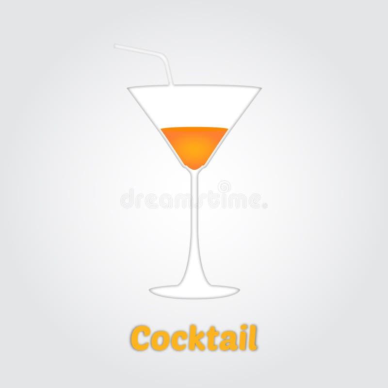 L'illustration de vecteur du cocktail en papier a coupé le style illustration stock