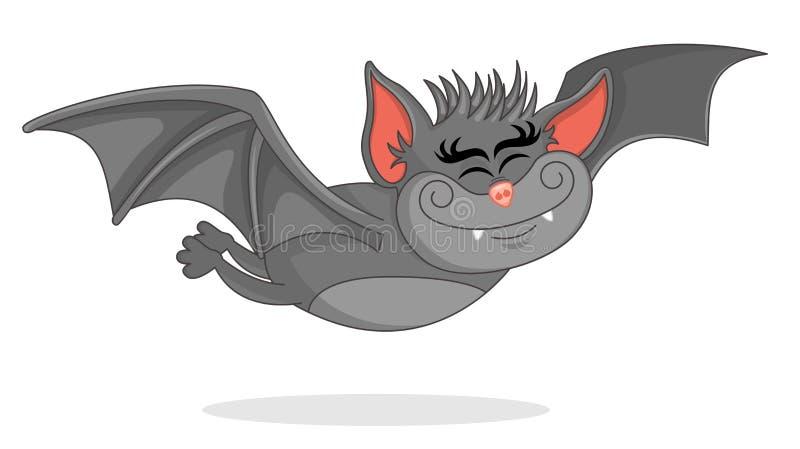 L'illustration de vecteur de la bande dessinée mignonne de chauve-souris vole en avant Illustration avec le thème de la batte vol illustration stock