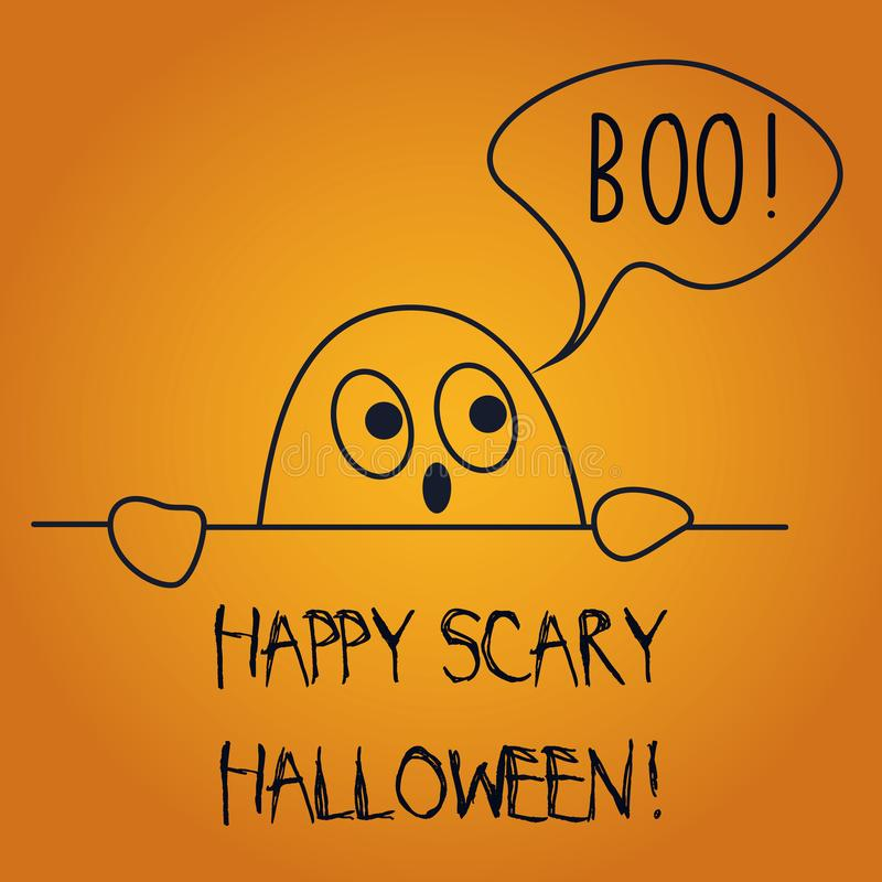 L'illustration de vecteur de la carte postale souhaitant Halloween effrayant heureux avec dire mignon de fantôme huent illustration de vecteur