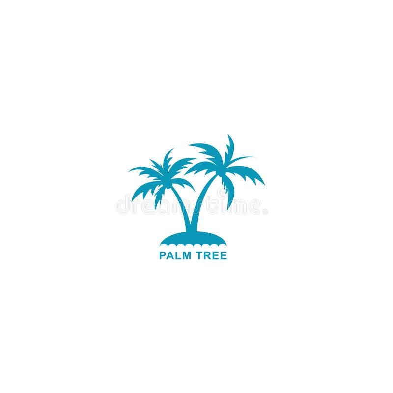 L'illustration de vecteur de logo de palmier, conçoivent deux palmiers de bleu de silhouette illustration de vecteur