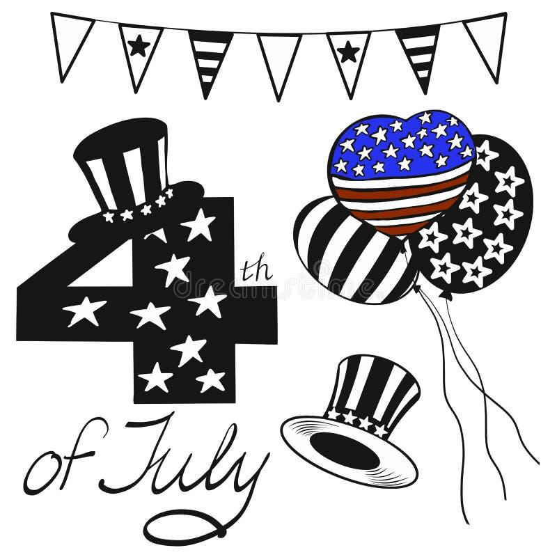 L'illustration de vecteur objecte le Jour de la Déclaration d'Indépendance heureux en noir, rouge, bleu et blanc colorée pour la  illustration stock