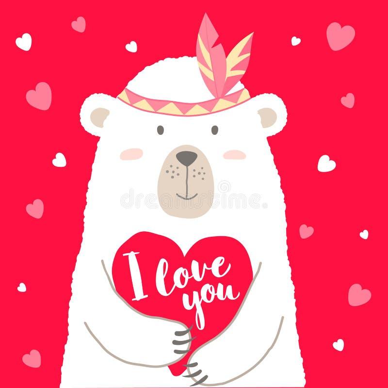 L'illustration de vecteur de l'ours mignon de bande dessinée tenant le coeur et le marquant avec des lettres pour la carte de val illustration stock