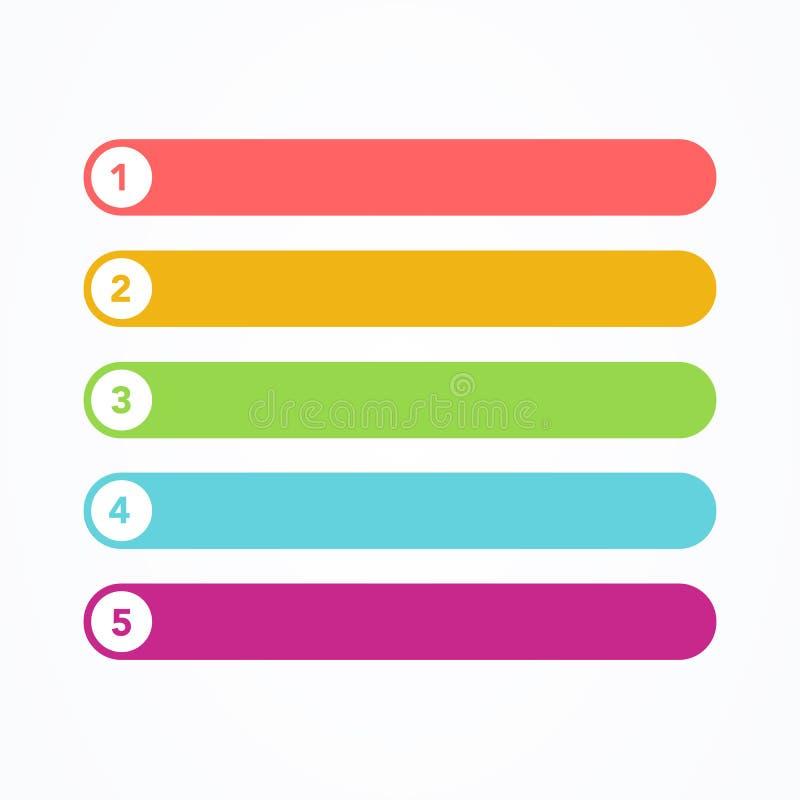 L'illustration de vecteur a placé de la ligne plate différente boutons modernes colorés de style sur le fond blanc Un deux trois  illustration libre de droits