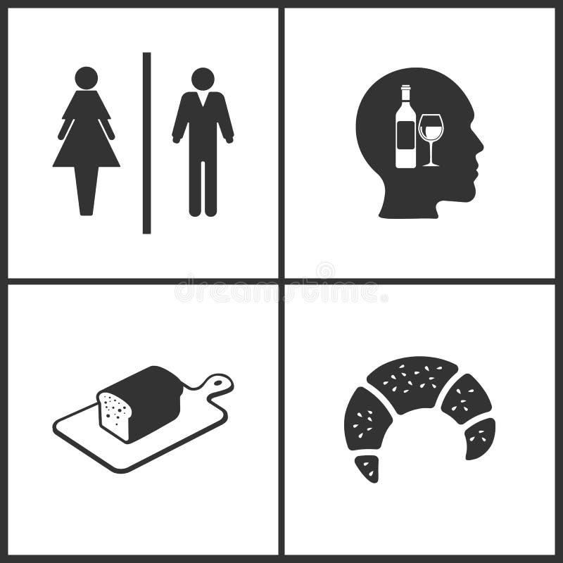 L'illustration de vecteur a placé les icônes médicales Éléments d'icône de carte de travail, de vin, de pain et de croissant illustration stock