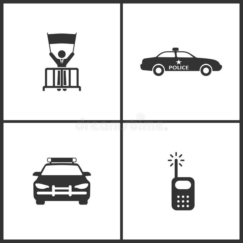 L'illustration de vecteur a placé les icônes médicales Éléments de protestation, de voiture de police et d'icône par radio illustration libre de droits