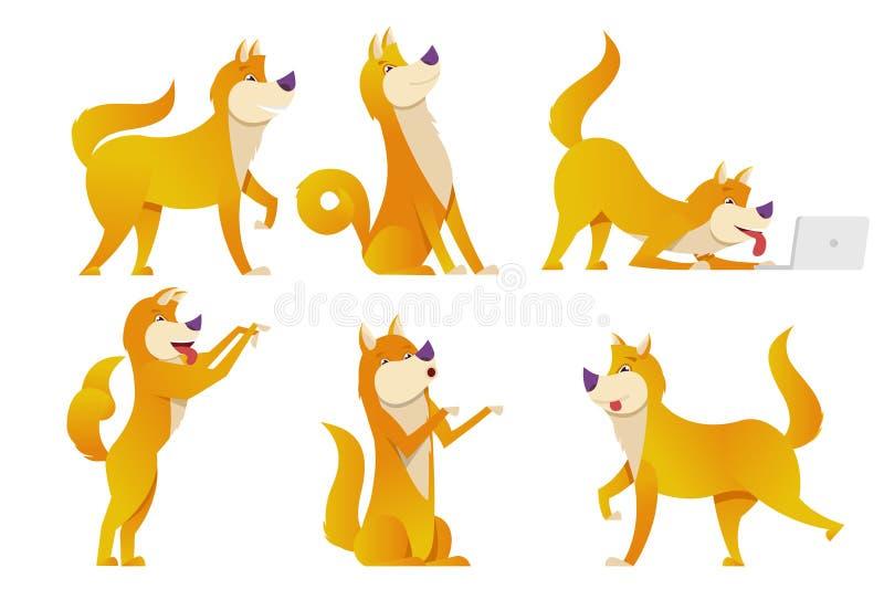 L'illustration de vecteur réglée par personnages de dessin animé de chien Les chiens jaunes dans différentes poses dirigent la co illustration stock