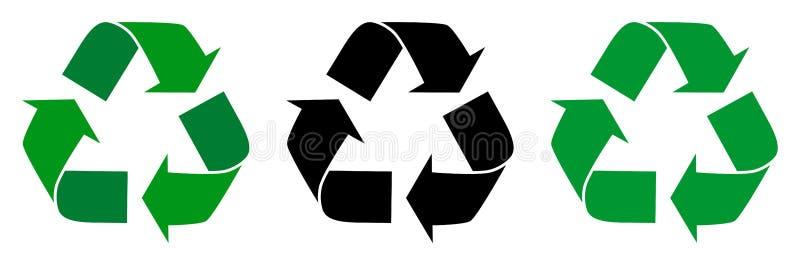 L'illustration de vecteur réutilisent le symbole avec la conception trois illustration libre de droits