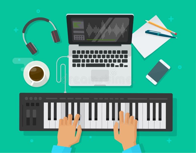 L'illustration de vecteur de studio d'espace de travail de musicien, personne plate de bande dessinée jouant le clavier de piano  illustration libre de droits