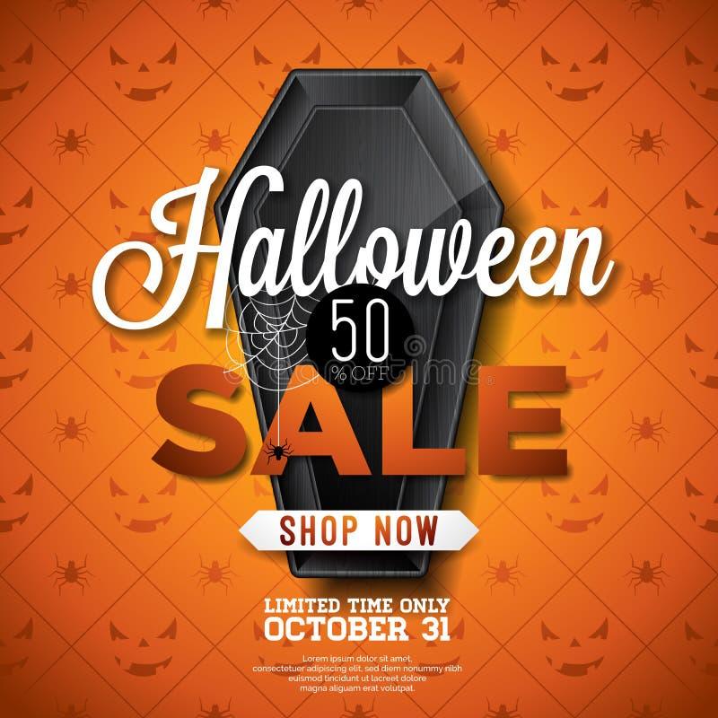 L'illustration de vecteur de vente de Halloween avec le cercueil noir et la toile d'araignée sur l'araignée orange donnent au fon illustration libre de droits