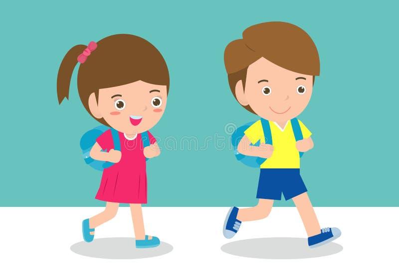 L'illustration des enfants allant instruire, de nouveau au calibre d'école avec des enfants, des élèves marchant l'écolier a isol illustration stock