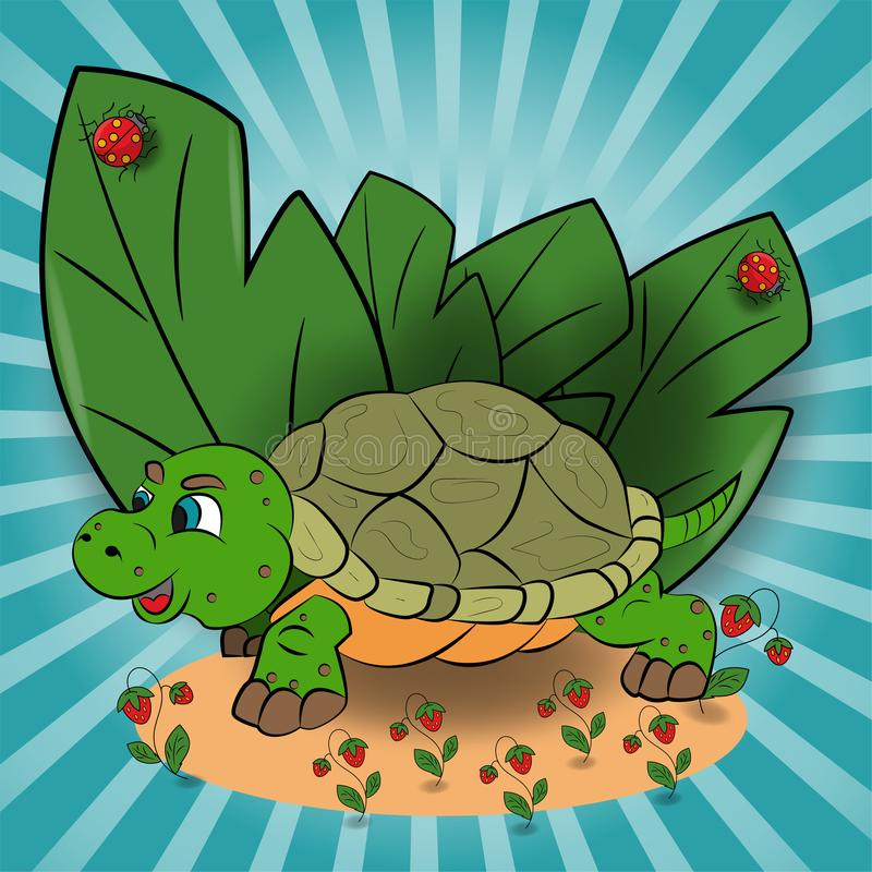 L'illustration des enfants d'une petite tortue dans une clairière parmi les feuilles de framboise illustration de vecteur