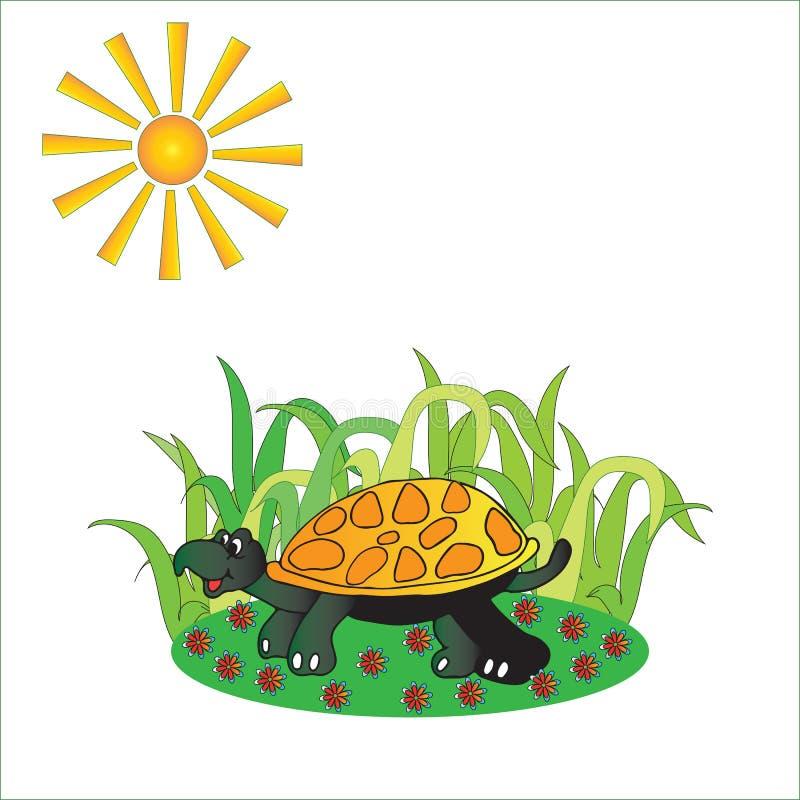 L'illustration des enfants d'une tortue illustration stock