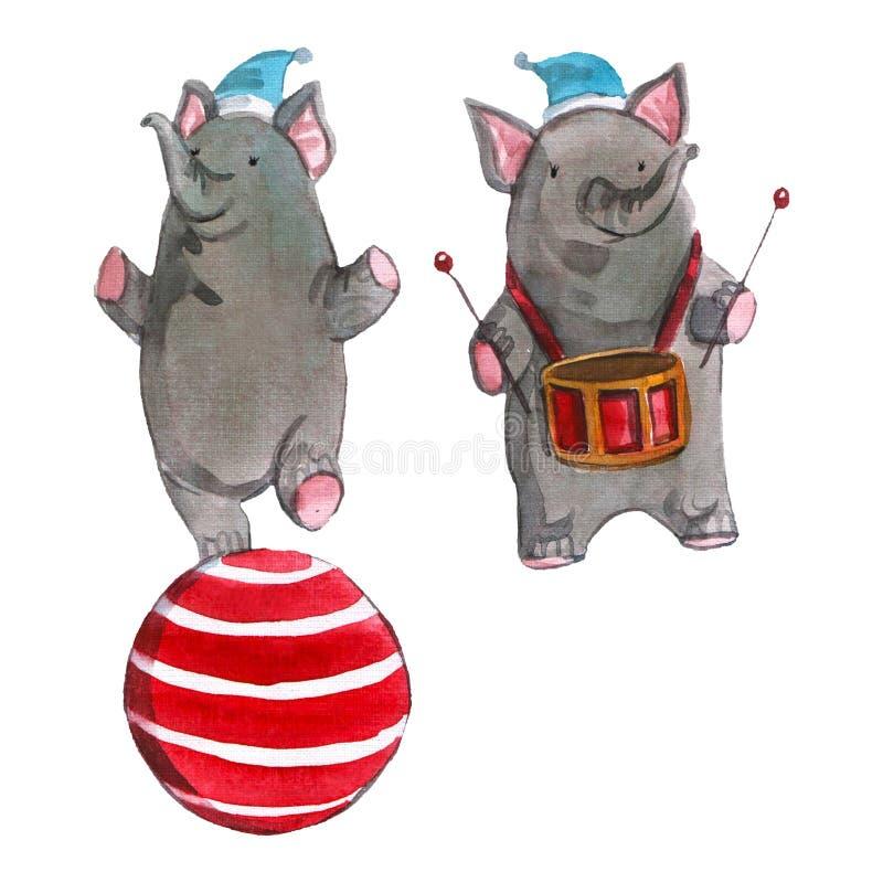 L'illustration des enfants de Watrcolor de l'éléphant mignon de cirque d'isolement sur le fond blanc illustration stock
