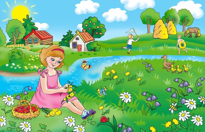 L'illustration des enfants pour un livre, album, magazine Une fille dans le pré, pendant l'été illustration libre de droits