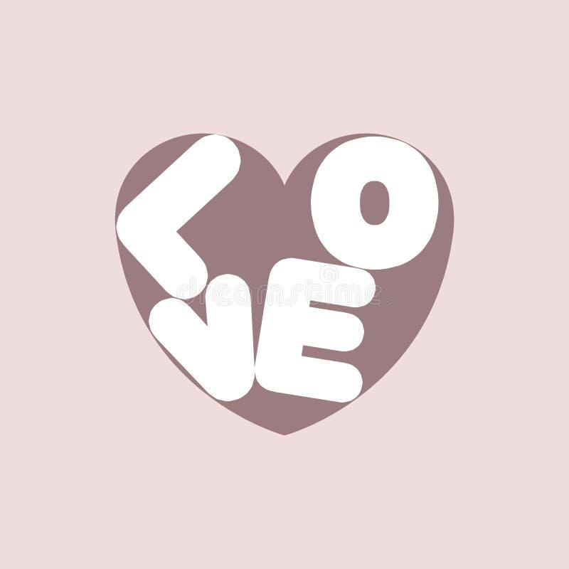 L'illustration des lettres blanches de Saint-Valentin aiment au coeur rose foncé sur le fond rose poussiéreux illustration stock