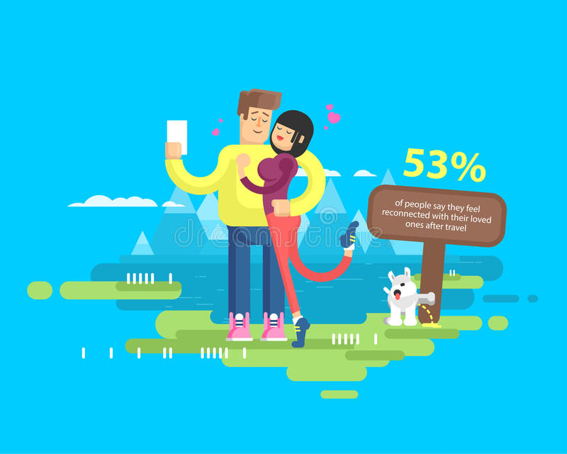 Download L'illustration Des Ménages Mariés Heureux Des Vacances, L'homme Et La Femme Font Le Selfie Illustration de Vecteur - Illustration du montagnes, crabot: 76079089