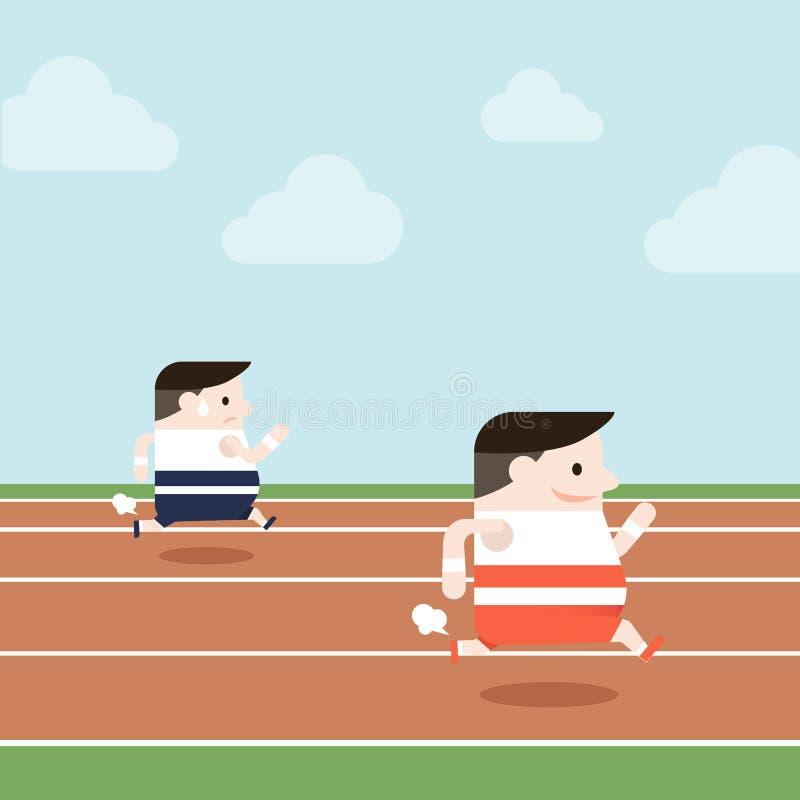 L'illustration des personnes de sport fonctionnent dans le champ de courses photographie stock