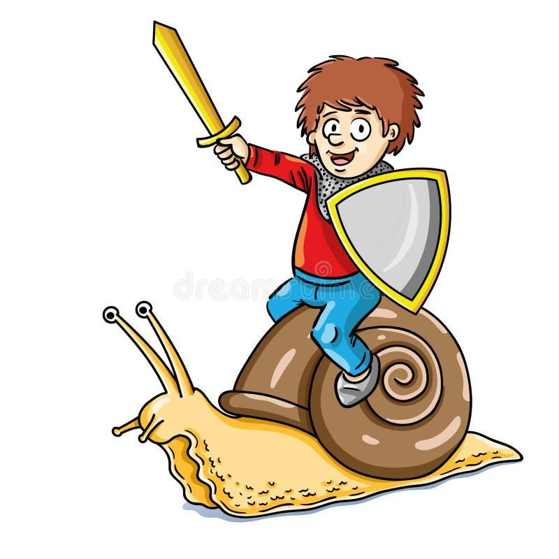 L'illustration drôle de l'enfant en tant que chevalier a monté sur un concentré illustration libre de droits
