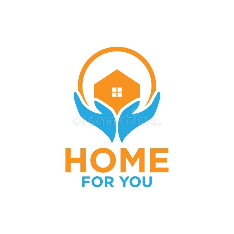 L'illustration du logo de maison et de main conçoivent le calibre illustration de vecteur
