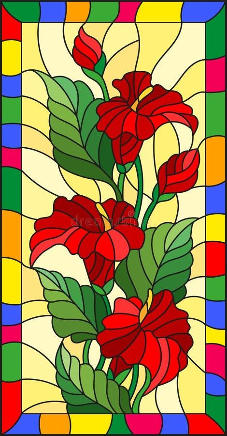 L'illustration en verre souillé avec des fleurs, les bourgeons et les feuilles de la calla fleurissent dans un cadre lumineux illustration libre de droits