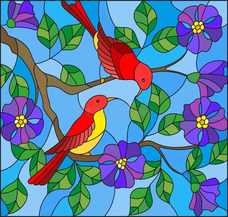 L'illustration en verre souillé avec deux deux oiseaux rouges lumineux sur les branches de la floraison sauvages a monté sur un c illustration stock