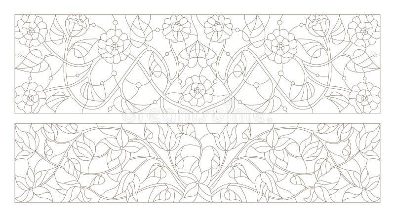 L'illustration en verre souillé avec la découpe d'ensemble tourbillonne et des fleurs, orientation horizontale illustration libre de droits