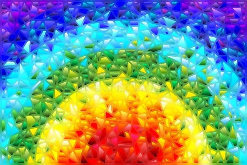 L'illustration en verre souillé avec le fond abstrait, les éléments colorés a arrangé dans le spectre d'arc-en-ciel illustration de vecteur