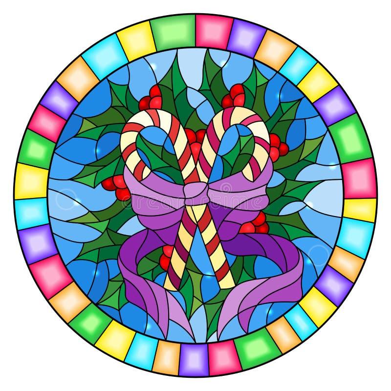 L'illustration en verre souillé avec le houx de lucettes s'embranche et arc sur le fond bleu, cadre de tableau rond illustration libre de droits