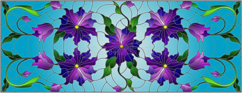 L'illustration en verre souillé avec le résumé a entrelacé les fleurs et les feuilles pourpres sur le fond bleu illustration de vecteur