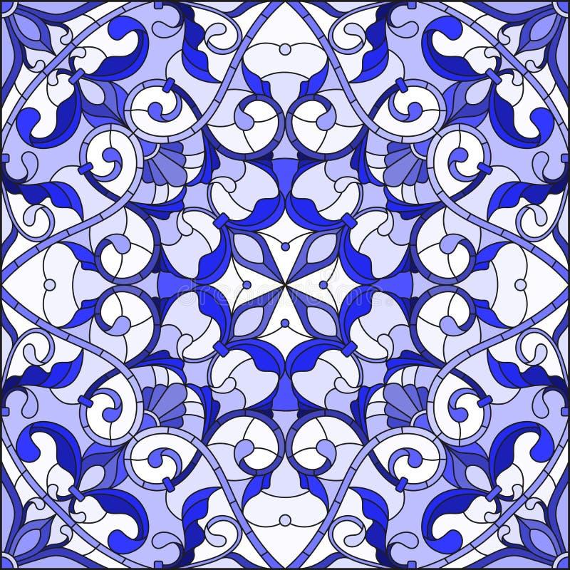 L'illustration en verre souillé avec le résumé tourbillonne et part sur un fond clair, image carrée, bleu gamma illustration stock