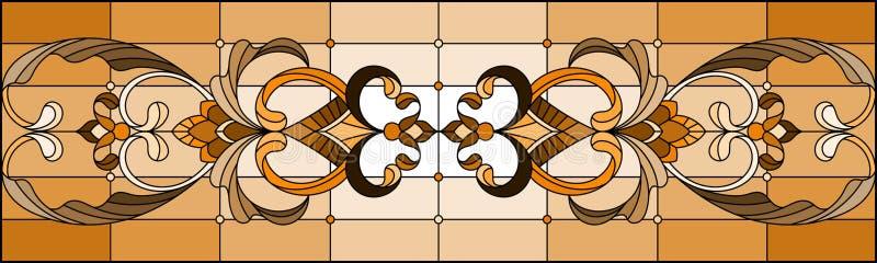 L'illustration en verre souillé avec le résumé tourbillonne et part sur un fond clair, orientation horizontale, sépia illustration libre de droits