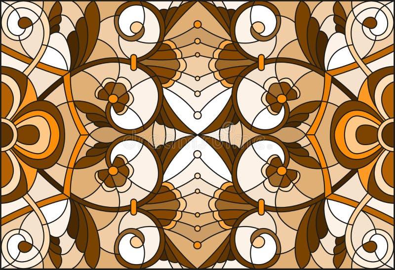 L'illustration en verre souillé avec le résumé tourbillonne et part sur un fond clair, orientation horizontale, sépia illustration de vecteur