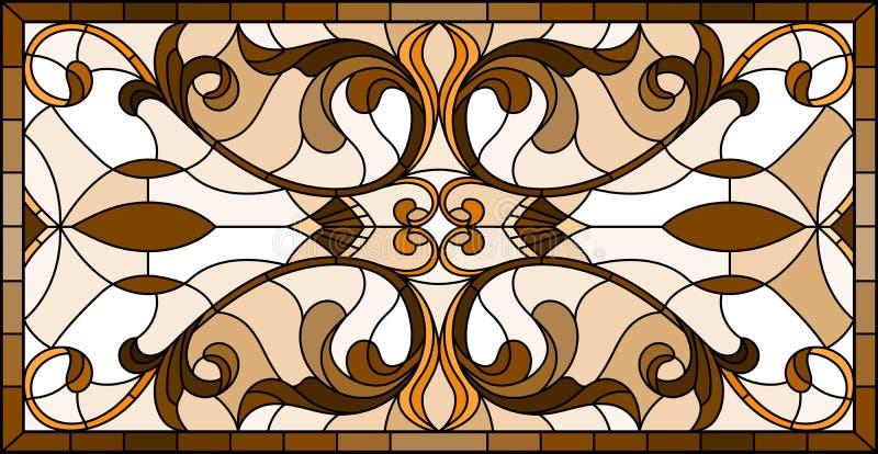 L'illustration en verre souillé avec les fleurs abstraites, tourbillonne et part sur un fond clair, orientation horizontale, sépi illustration stock