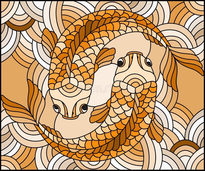 L'illustration en verre souillé avec une paire d'or pêchent sur le fond onduleux de l'eau, sépia, ton, brun illustration libre de droits