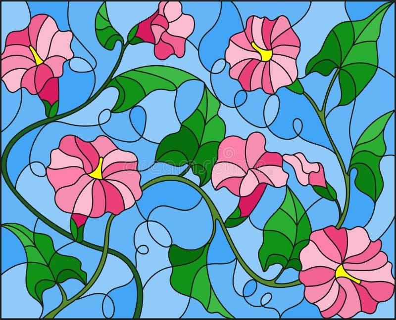 L'illustration en verre souillé fleurit la loche, les fleurs roses et les feuilles sur le fond bleu illustration libre de droits