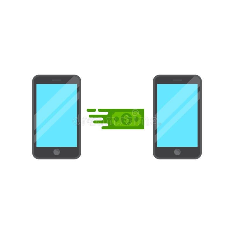 L'illustration envoient l'argent, transfert d'argent à partir de téléphone intelligent illustration libre de droits