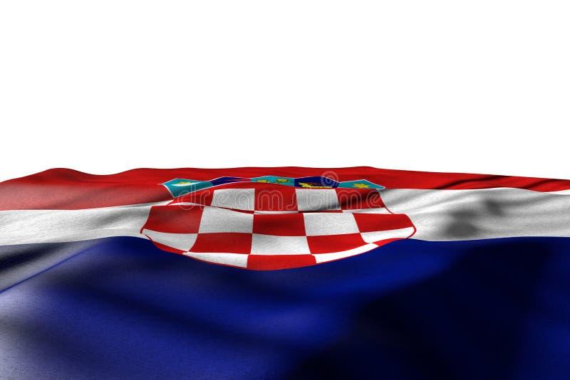 L'illustration gentille de maquette du drapeau de la Croatie s'étendent avec la vue de perspective d'isolement sur le blanc avec  illustration libre de droits