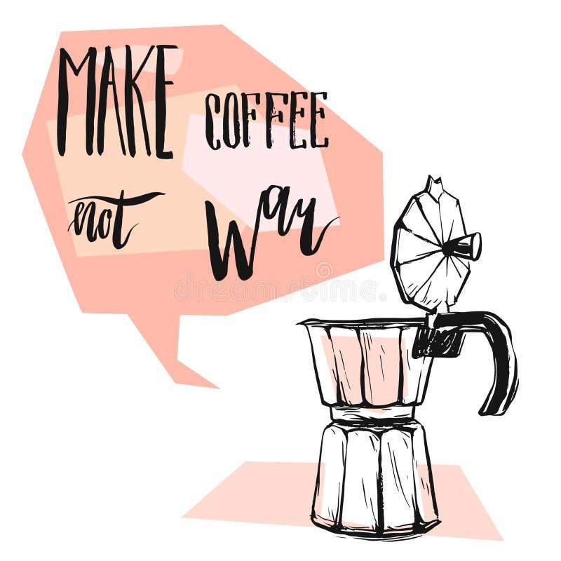 L'illustration graphique d'abrégé sur fabriqué à la main vecteur avec le fabricant de café de geyser, bulle de la parole avec la  illustration libre de droits