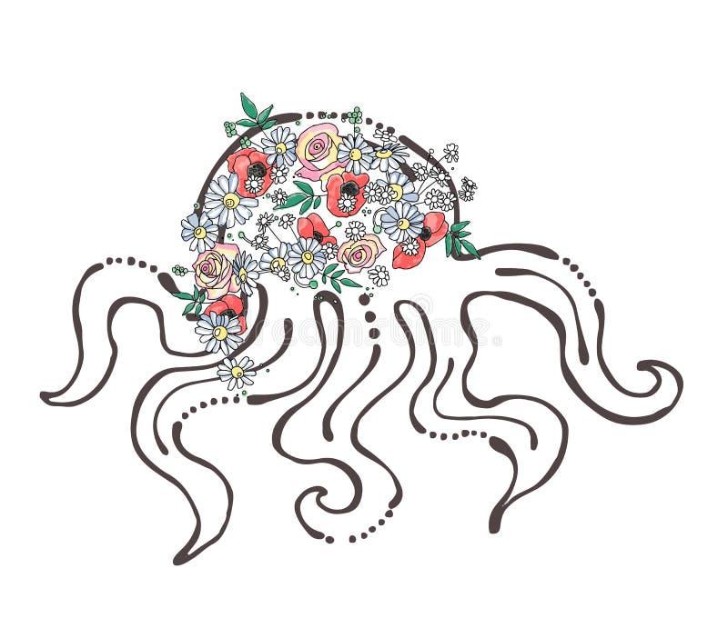 L'illustration graphique tirée par la main de vecteur de l'animal de mer, poulpe avec des fleurs, feuilles esquissent le dessin,  illustration libre de droits